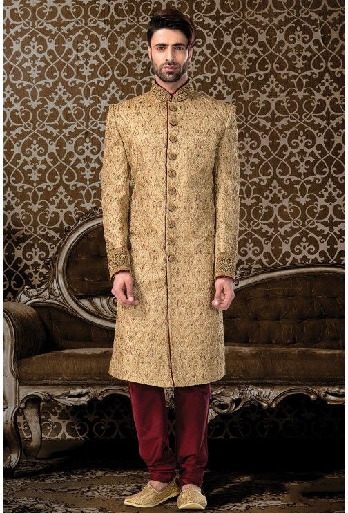 Wedding Sherwani Gold Zari Work SH232 | Мужская красота | Sherwani