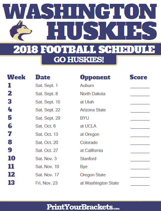 2018 Printable Washington Huskies Football Schedule Kansas State Football Ohio Bobcats Football Michigan Wolverines Football Schedule