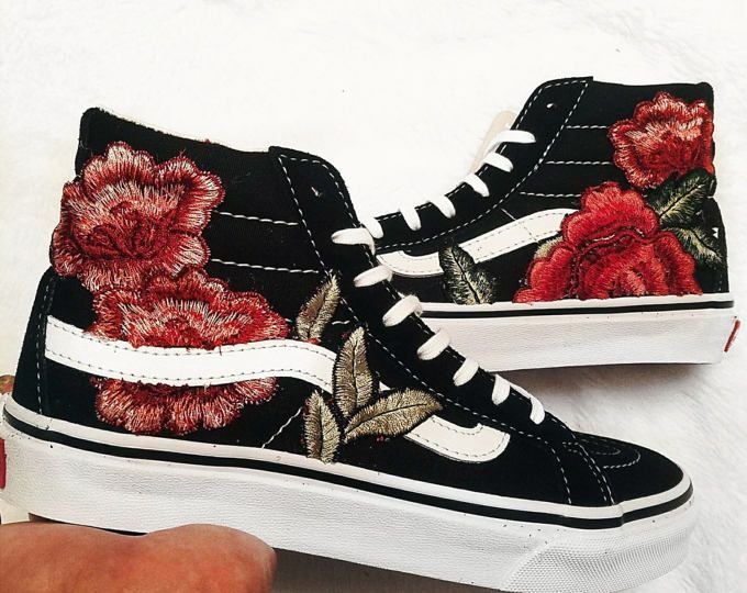 Unisex Sk8 Floral Embroidered Patch Rose Vans Custom HiShoes Qrtshd