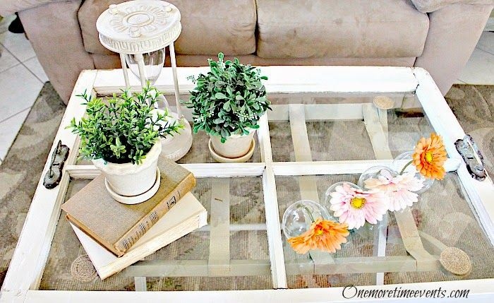 One More Time Events..Vintage Window Tray Coffee Table