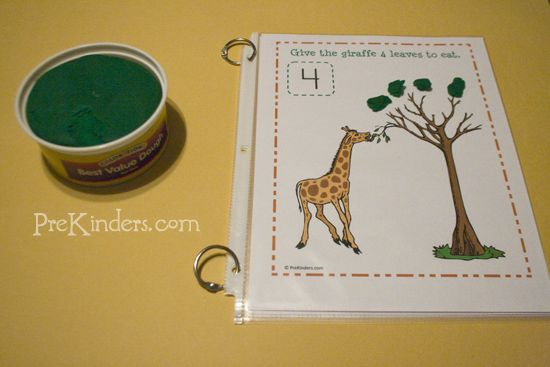 Fun games to play with playdough - feed the giraffe 4 leaves.
