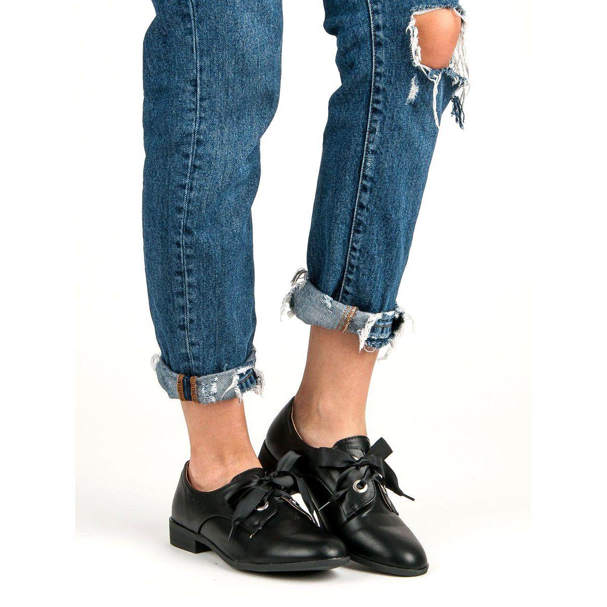 Tina Co Wiazane Polbuty Czarne Womens Oxfords Oxford Shoes Tina