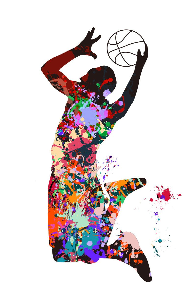 Basketball Player Competition Sports Active Watercolor Painting Print Pastel Colors Green Room Decor In Basketball Painting Basketball Art Basketball Drawings
