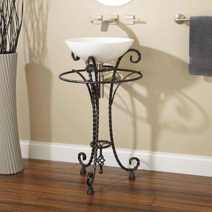 Delarue Wrought Iron Sink Stand With Towel Bar Bathroom