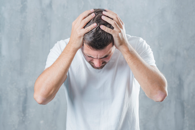 Download Close Up Of A Man Suffering From Headache Against Gray Background For Free What Is A Migraine Gray Background Migraine