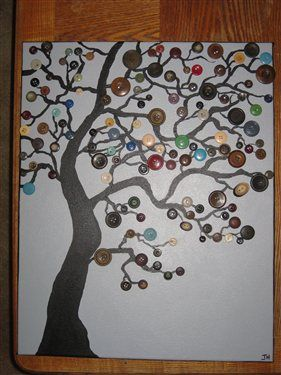 Paint tree with acrylic.  Glue on buttons.