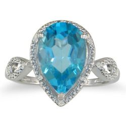 Today Recommend - 3 1/2ct Pear Shaped Blue Topaz and Diamond Ring in 10k White Gold