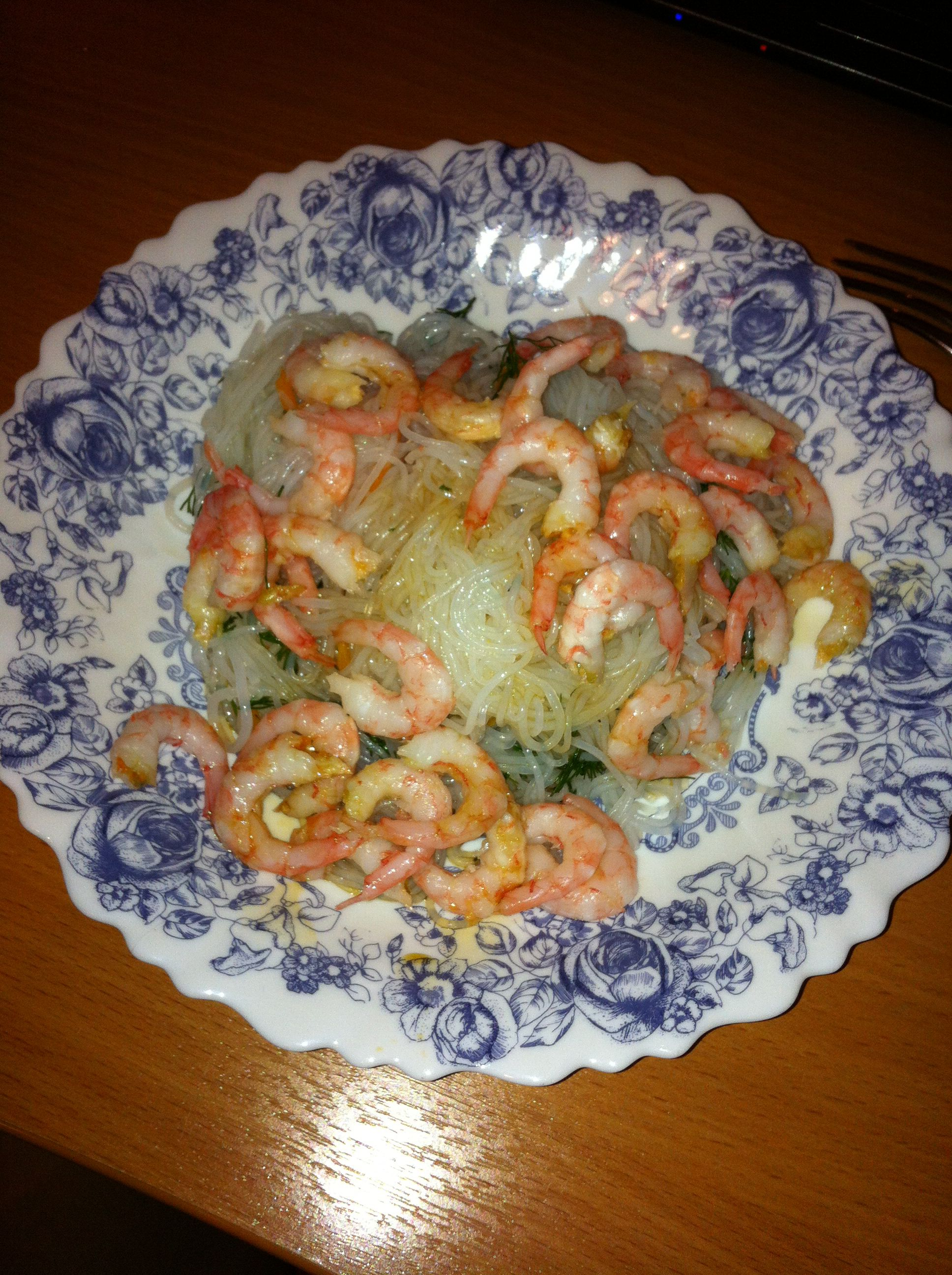 Rice noodles with shrimp