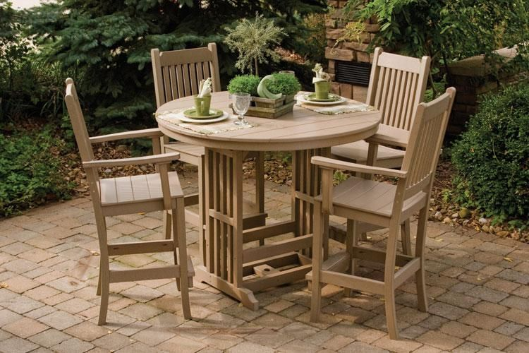 Amish Polywood 5 Piece Mission Style Patio Daisy Dining Furniture Set; WAY  out of the price range, but the style is great - Amish Polywood 5 Piece Mission Style Patio Daisy Dining Furniture