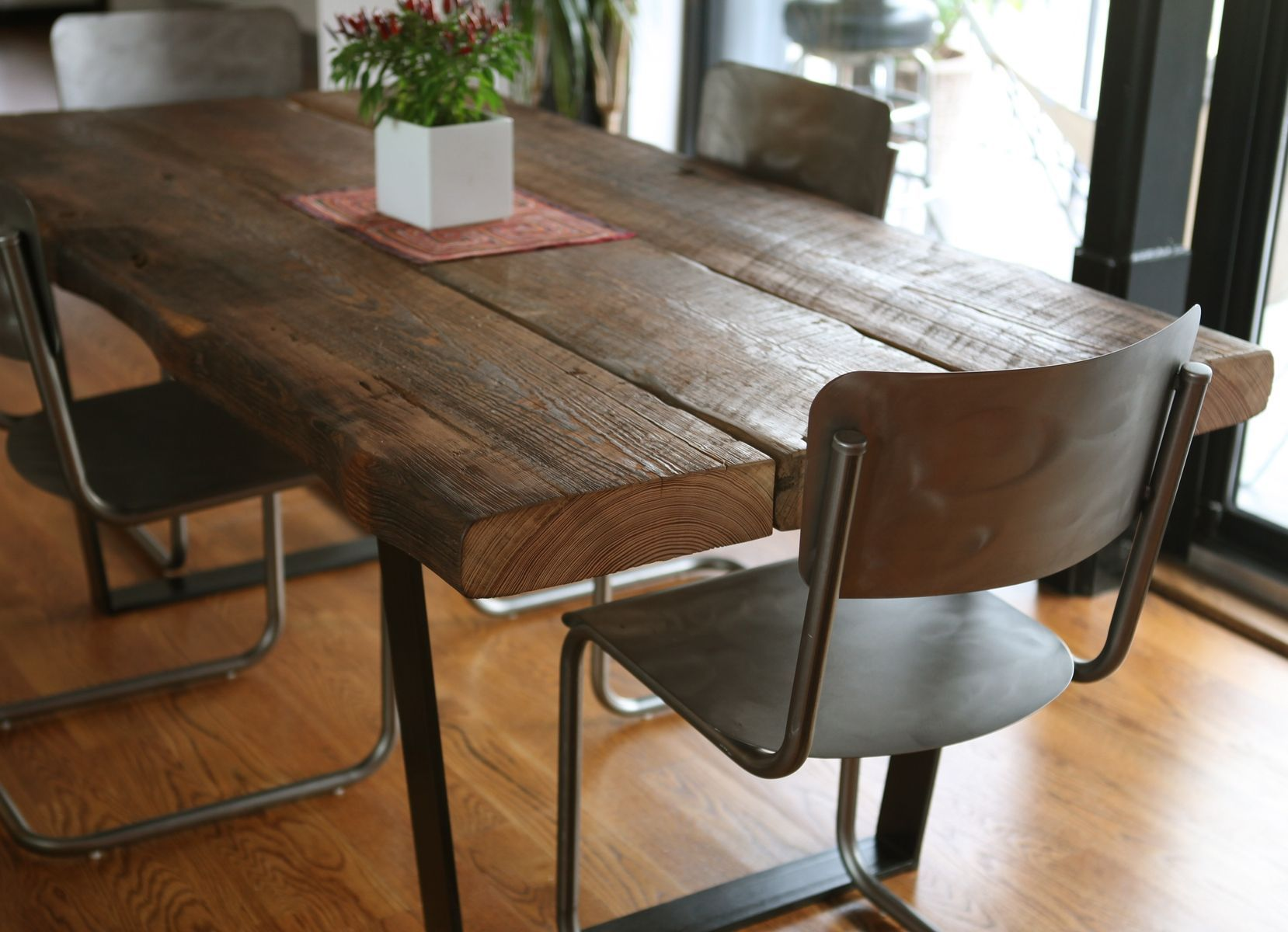Dark Wood Dining Room Chairs Beauteous Custom Made Reclaimed Dining Table  Home Dining Tablechairs Design Ideas