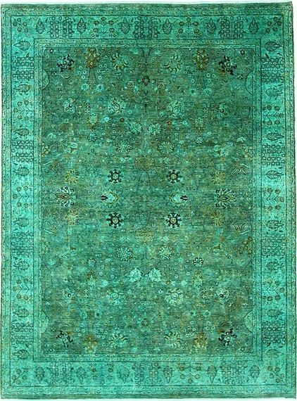 eclectic rugs by eSaleRugs-the overdyed rug is a big trend. Old rugs are stripped of colour then coloured a popular colour
