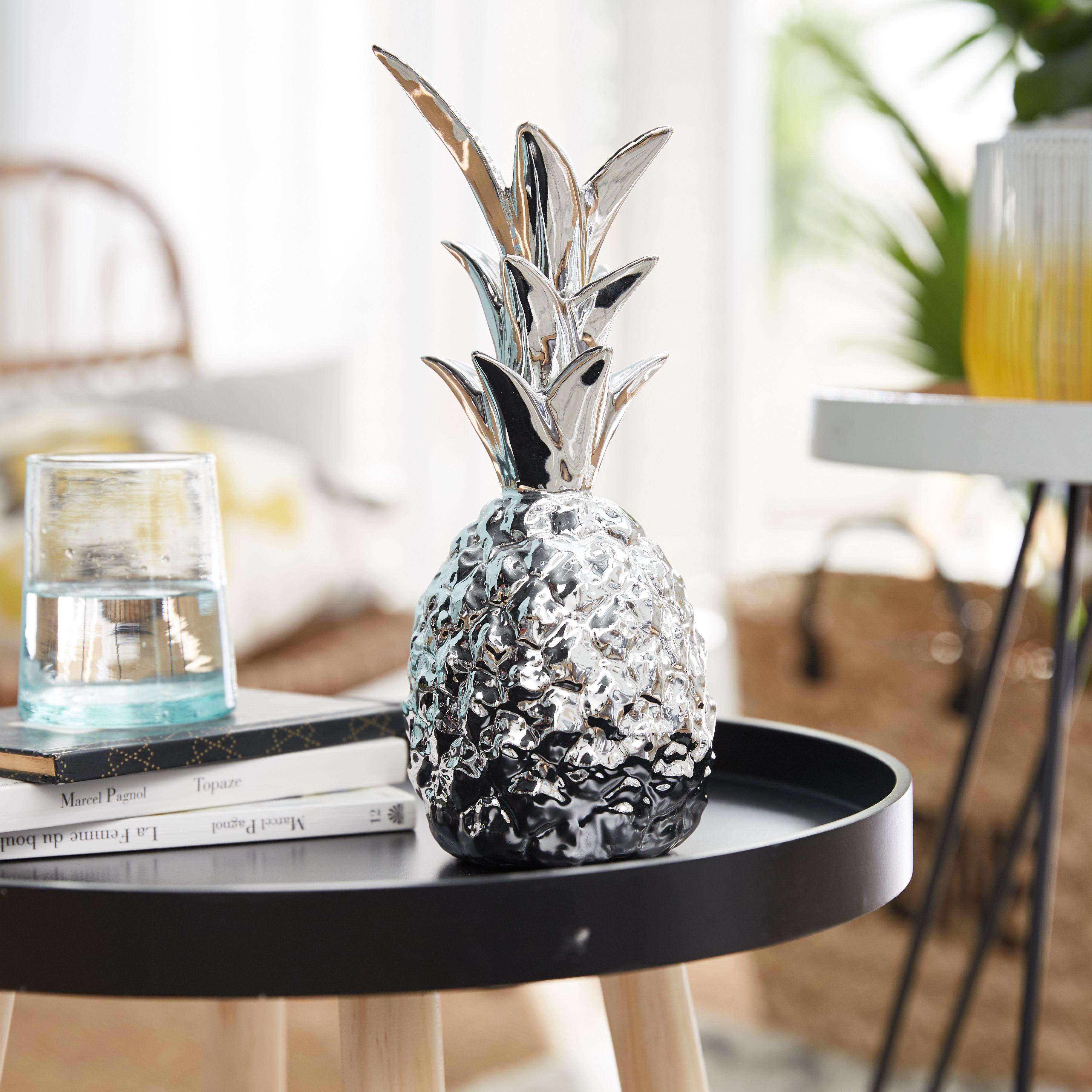 Pina Ananas à poser en céramique coloris argent H25.5cm ...