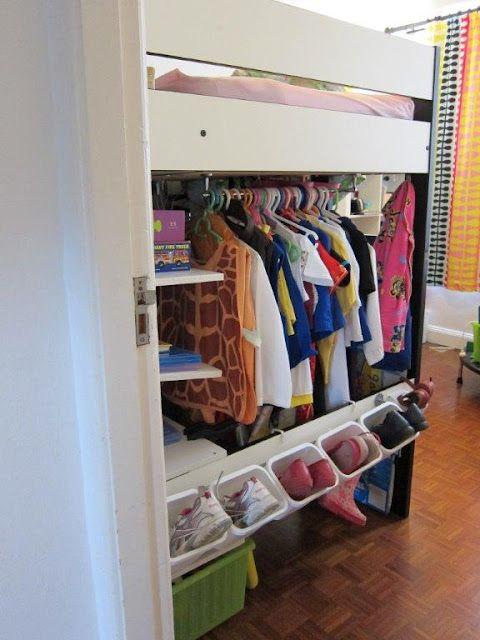 Cloth storage under loft bed