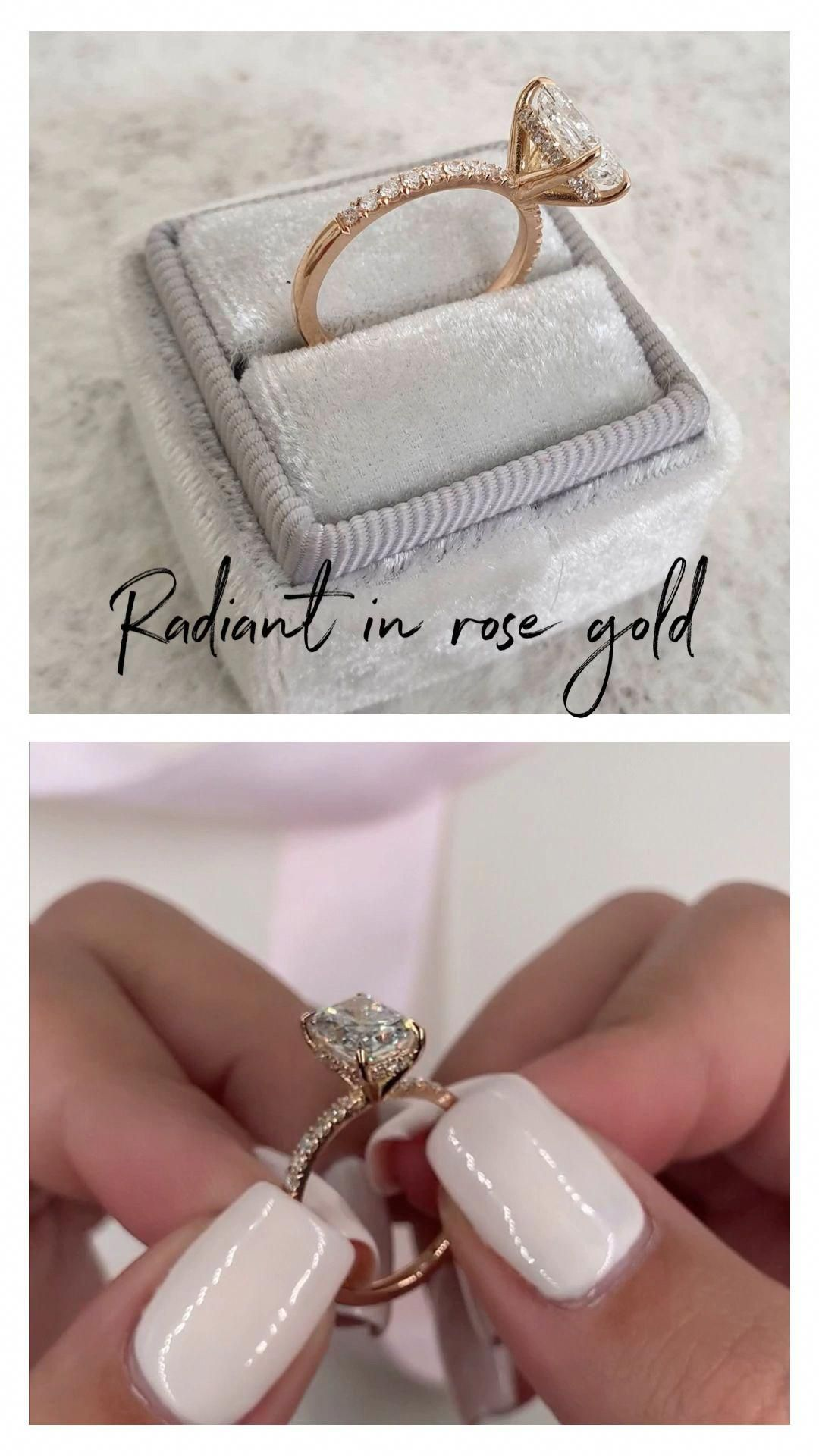 Photo of Rose Gold Morganite Engagement Ring Set Unique Rose Gold Morganite Ring with Matching Band Diamond Engagement Rings – Fine Jewelry Ideas