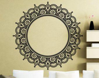 Flower Stickers Mehndi : Mandala wall sticker mehndi ornament yoga namaste lotus flower
