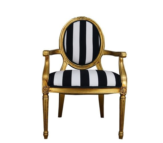 Best Hollywood Regency Vintage French Chair Black And White 400 x 300