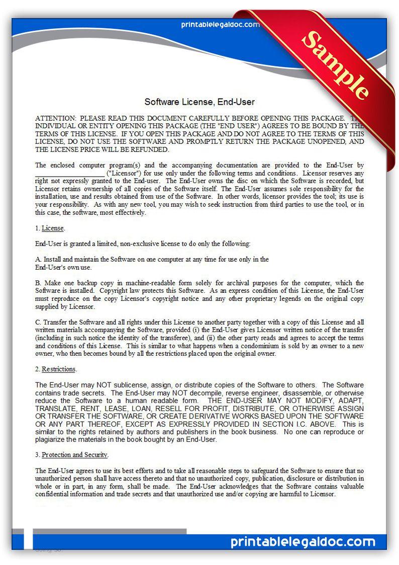 Free Printable Software License Enduser Legal Forms Legal Forms
