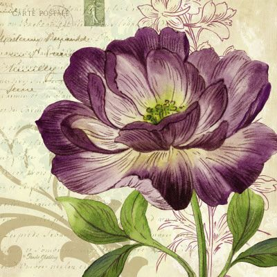 Vintage feel purple flower painting art print poster for wall decor
