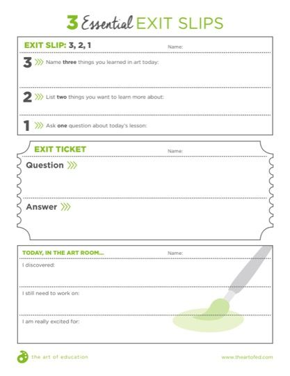 Effective Strategies for Formative Assessment Art Ed Pinterest - Exit Ticket Template