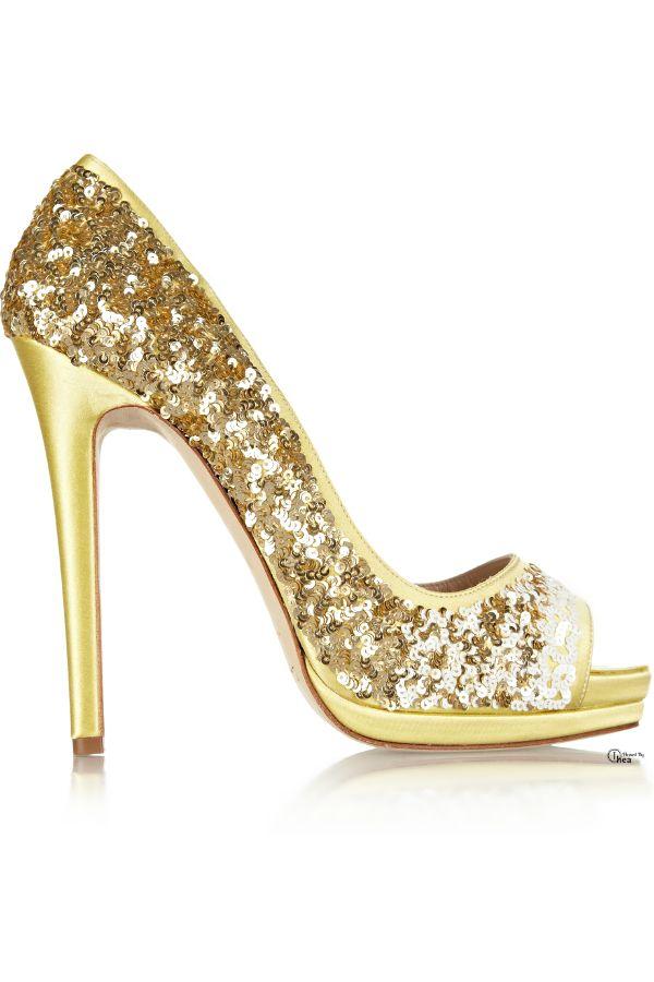 4bf7825c2a3 Oscar De La Renta Gold Sequined Peeptoe Pumps, every girl need ...