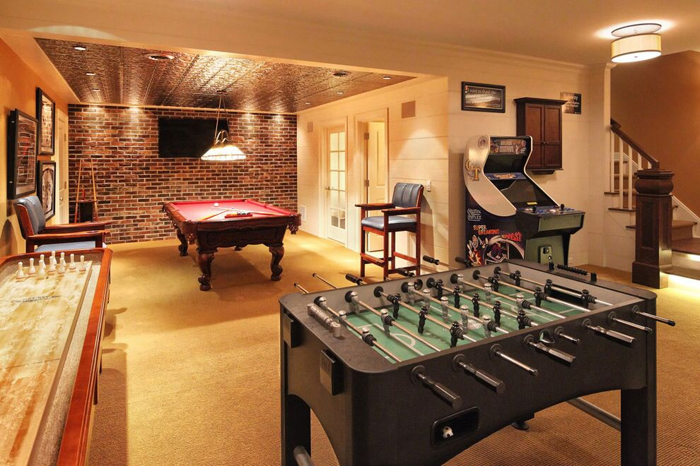 Great Rec Room Love The Red Brick Wall And Vintage Tin Ceiling Over The Pool Table Game Room Basement Basement Games Entertainment Room Decor