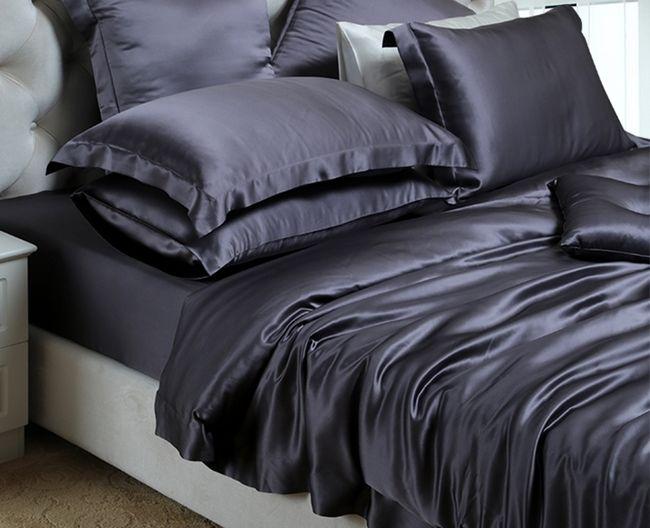 100/% Silk Dark Gray Bedding Set Queen King Quilt Cover Fitted Sheet Pillowcase