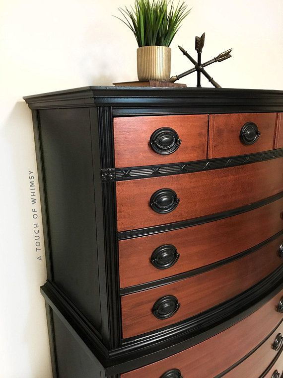 Sold Black And Hammered Copper Painted Dresser Bedroom Furniture Vintage Furniture Federal