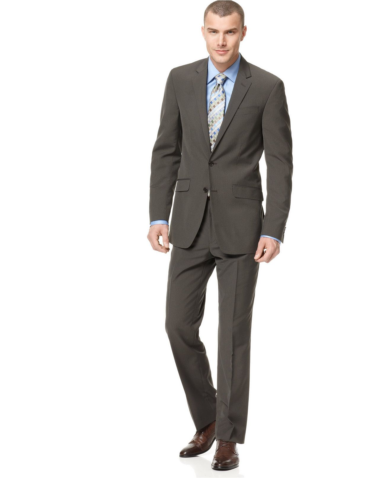 Kenneth Cole Reaction Brown Stripe Slim-Fit Suit | Slim fit suits ...