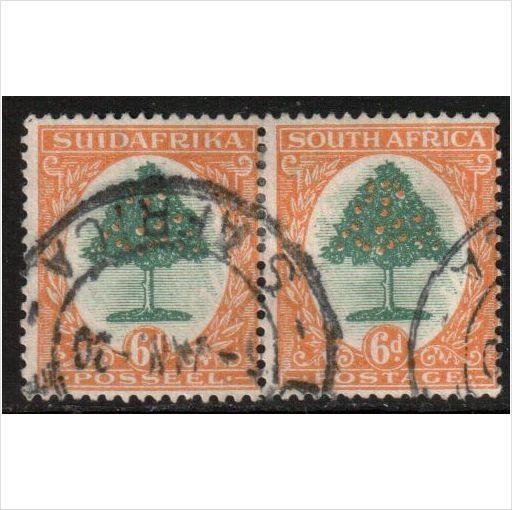 South Africa Scott 42 - SG47 w, 1930 6d Bi-lingual Pair, Perf 15x14 used stamps sur le France de eBid