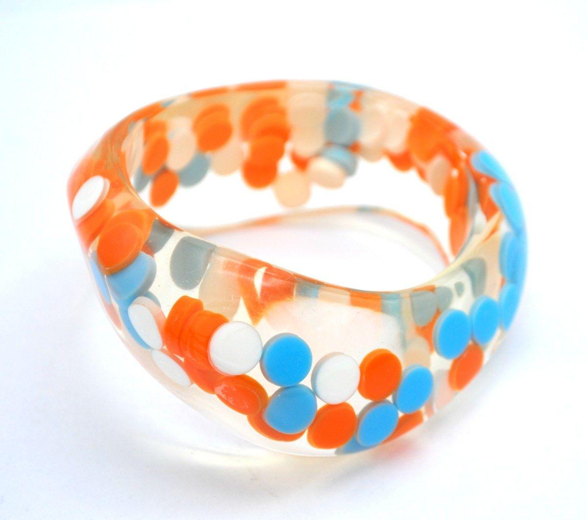 Orange Bangle Bracelet and Chunky Necklace