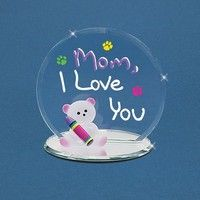 "Love You/"" Bear Figurine Glass Baron /""Mom"