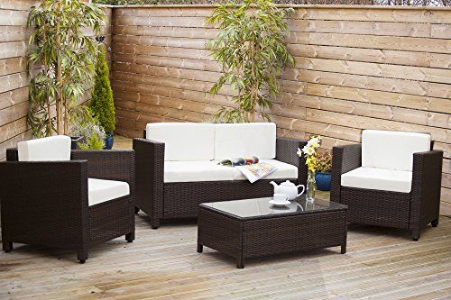 New Roma Rattan Wicker Weave Garden Furniture Patio Conservatory Sofa Set Brown Includes Outdoor Furniture Cover Abreo Www Amazon Co Uk Furniture Modern Roma