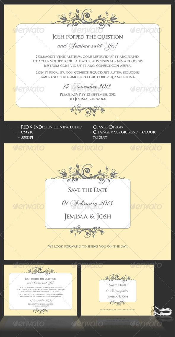 Classic Wedding/Engagement Invite & Save The Date | Classic weddings ...
