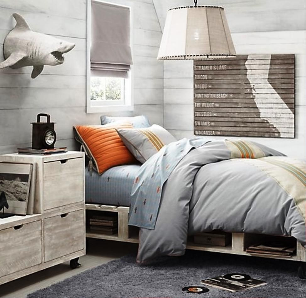 Fashionable Picturesque Boys Room Ideas Featuring Grey Bed With Storage And  White Pendant Lamp Plus Small Window Along With Wall Mount Shark Decor Also  Grey ...