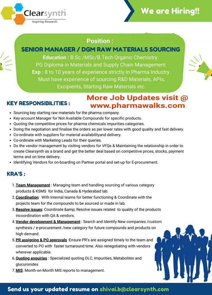 ClearSynth Labs Urgent job openings for Sr. Manager/ DGM