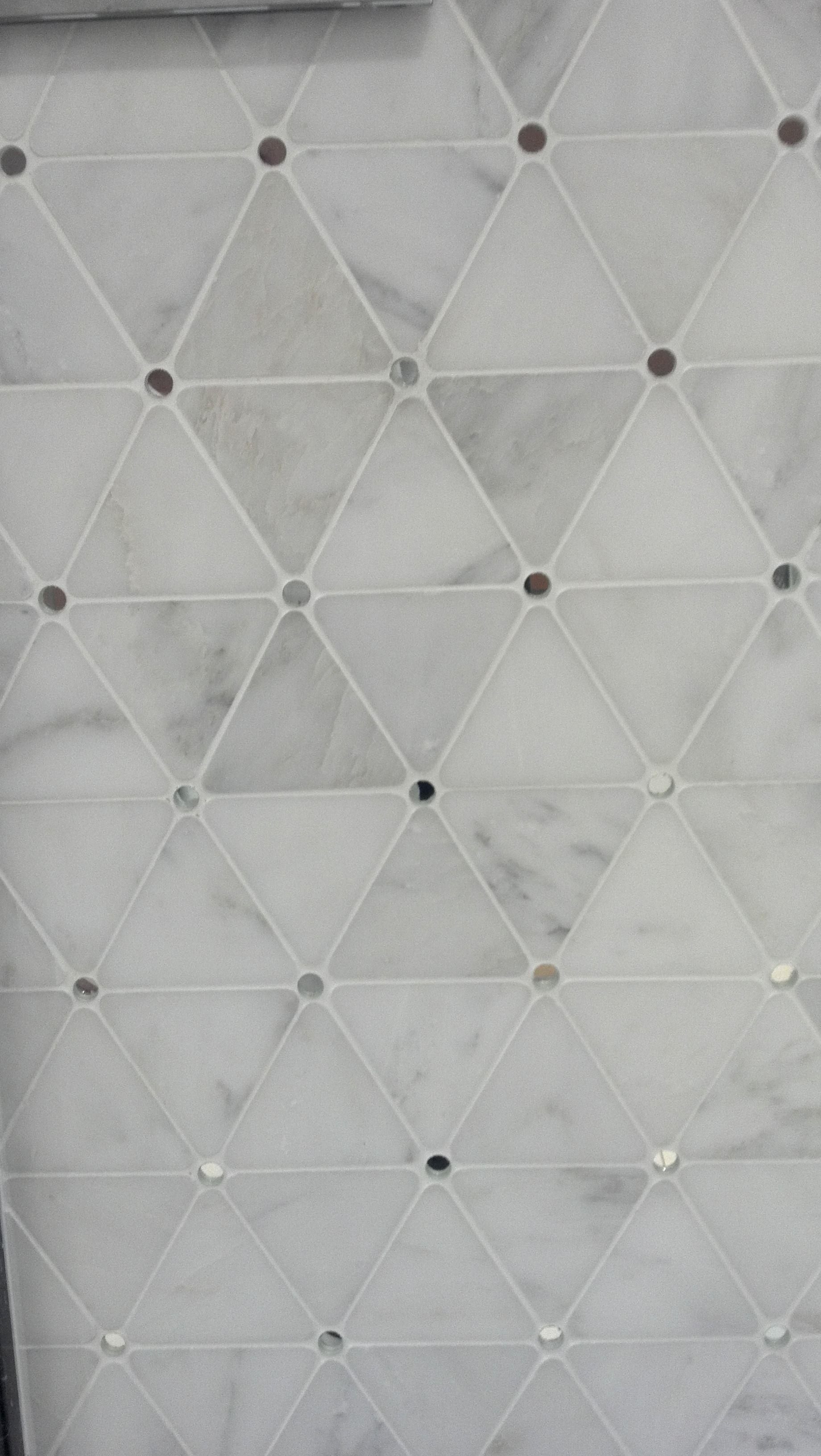 Mosaic liners art pattern mirrorred bathroom wall discount tiles - Porcelanosa Diamond Blanco Marmara Mirror Mirror Backsplashmosaic Backsplashmarble Mosaicwall Tilesdiamond Shapesbathroom