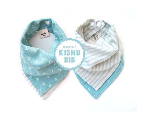 turquoise nautical bandana bib one size reversible by kishubaby ...