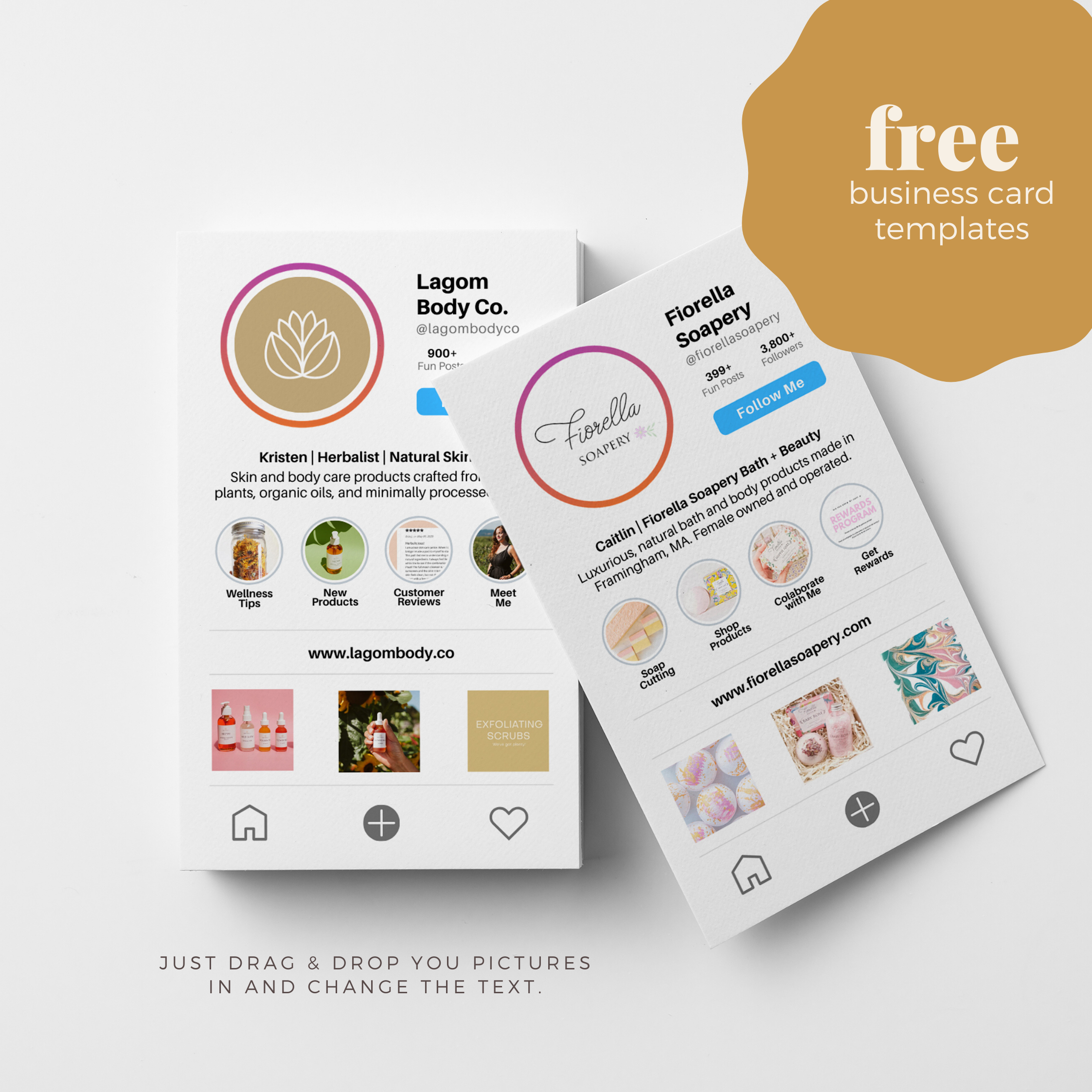 Free Instagram Business Card Templates For Etsy Sellers Fashion Business Cards Free Business Card Templates Unique Business Cards Design