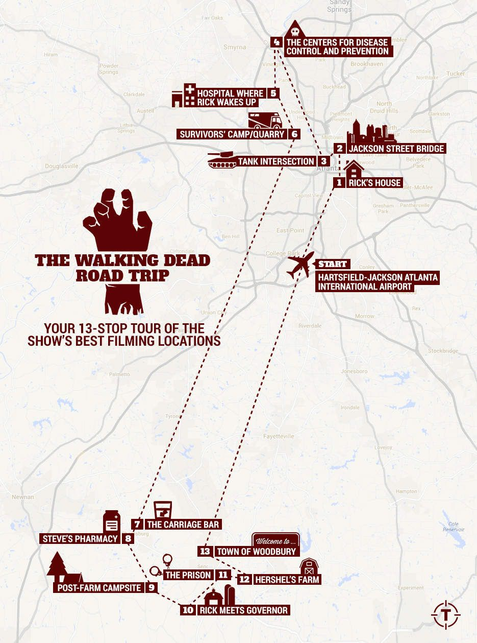carte the walking dead The Walking Dead' Road Trip: Your 13 Stop Tour of the Show's Best