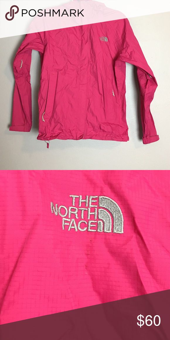 Pink North Face Rain Jacket Slight Defect By North Face Symbol