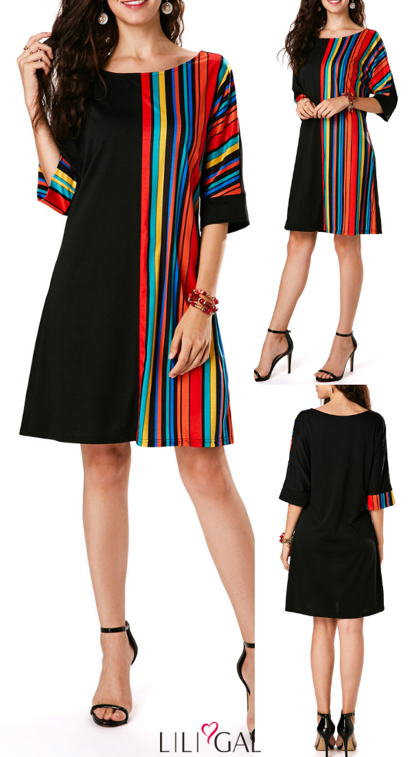 USD31.04 Stripe Print Three Quarter Sleeve Black Tunic Dress