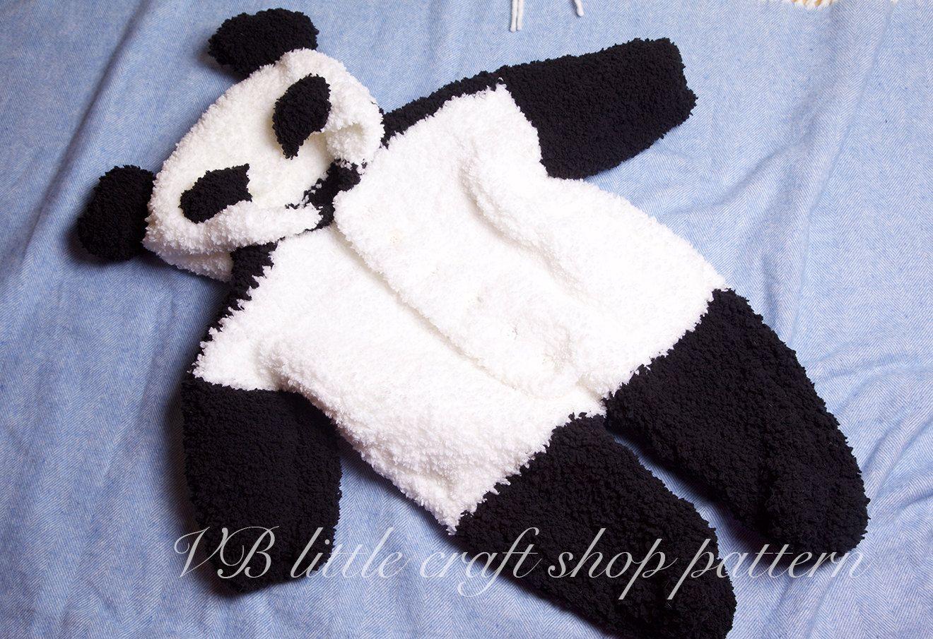 Panda bear All-in-one/onesie knitting pattern. Instant PDF download ...