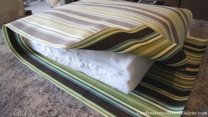 DIY cushions for patio furniture. I didn't have old cushions to cover so I  used layers of cheap bed padding foam wrapped in batting. - DIY Cushions For Patio Furniture. Super Easy. I Didn't Have Old