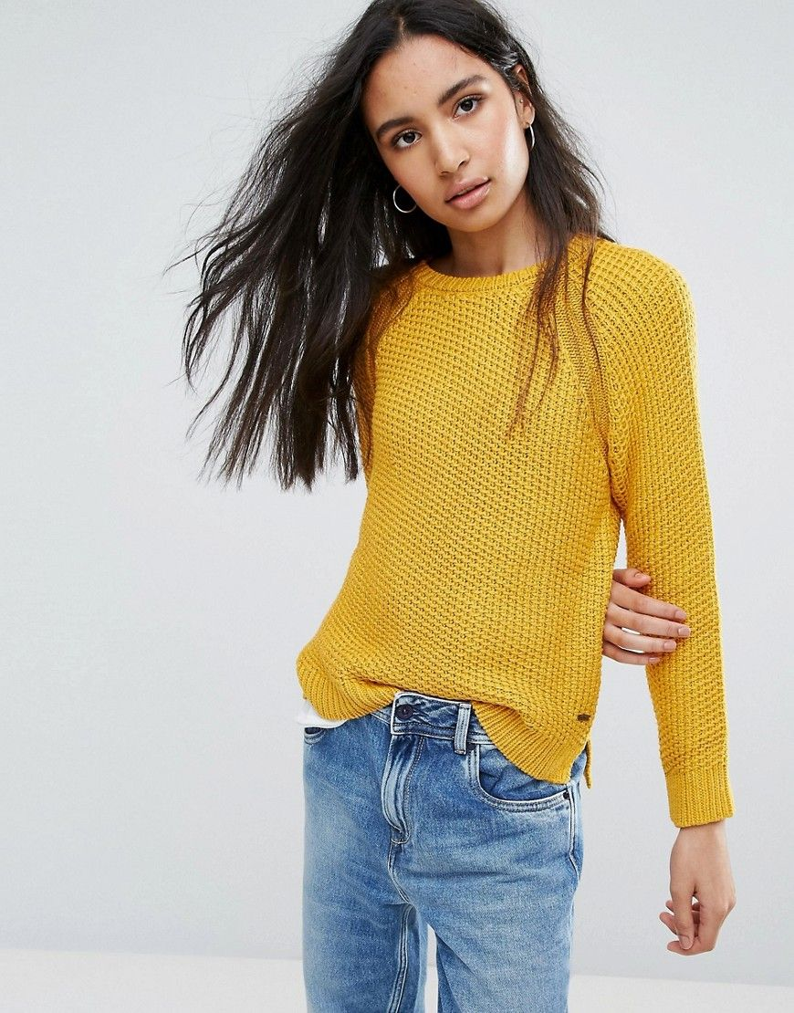 Pepe Jeans Penny Knit Sweater - Yellow | Products | Pinterest ...