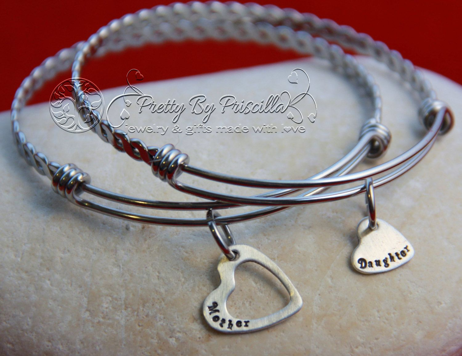 Mother And Daughter Bracelet Set Jewelry Expandable Bangle