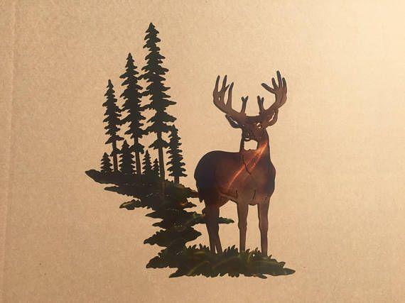 Whitetail Buck Deer w/ Mountain & Trees Metal Wall Art | Metal Art ...