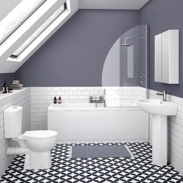 white and grey metro tile bathroom google search