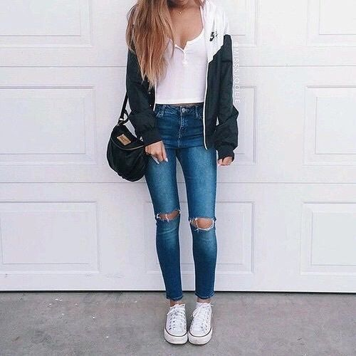 Bag fashion jacket jeans outfit ideas ripped jeans shoes soft style comfy look ...