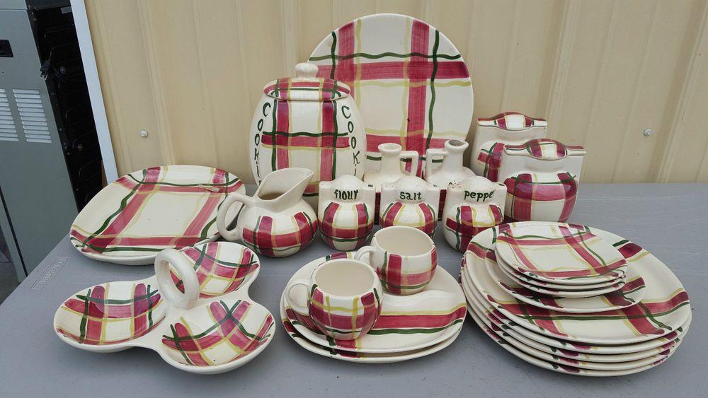 "RARE and HTF Puritan Slipware ""Normany Plaid"" Pottery Dinnerware 25pc Set in Pottery & Glass, Pottery & China, China & Dinnerware | eBay"