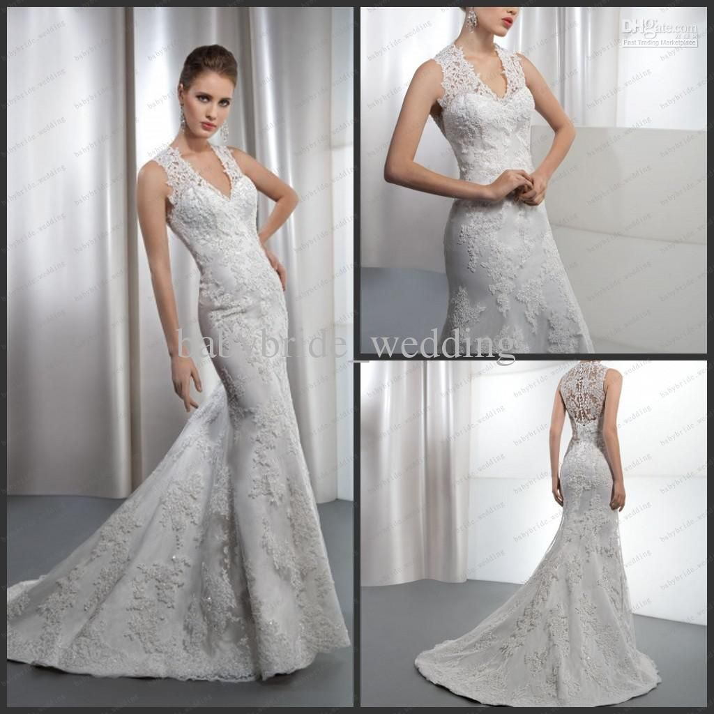 Trumpet Skirt High And Sheer Lace Back Demetrios Lace Covered - Covered Back Wedding Dress